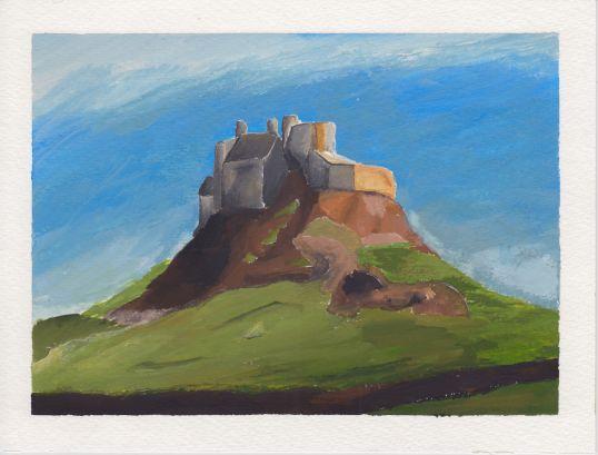 Lindisfarne Castle, 5x7. Gouache on watercolor block. Sold.