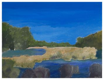 Ossabaw Marsh, 9x12. Gouache on watercolor block. $125