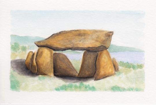 Dolmen 3, 4x6. Watercolor on watercolor postcard. $15