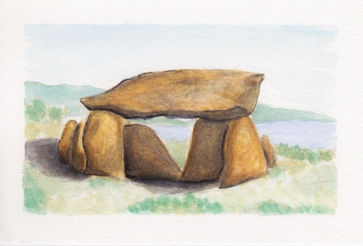Dolmen 3, 4x6. Watercolor on watercolor postcard. $15