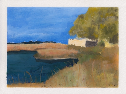 Fort Frederica, 5x7. Gouache on watercolor block. $95