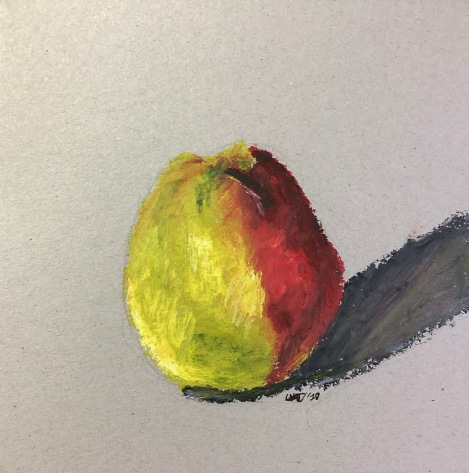 Pear, after Paul Cézanne. 6x6, oil pastel on paper. Sold.