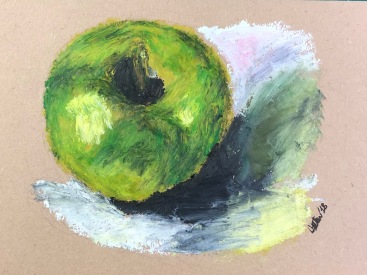 Apple, after Paul Cézanne. 4x6, oil pastel on paper. Sold.