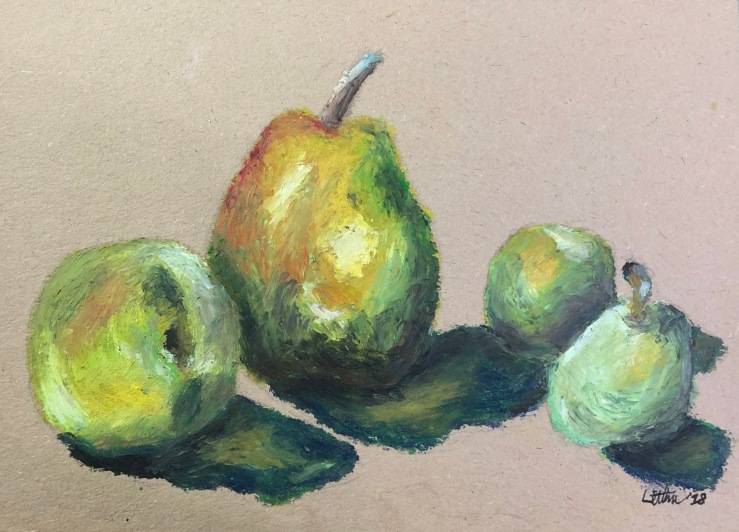 Pears and Apples, after Paul Cézanne. 5x7, oil pastel on paper. Not for sale.