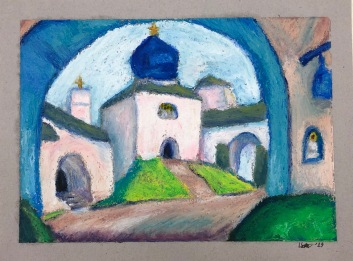 Old Pskov, after Nicholas Roerich. 5x7, oil pastel on paper. $100