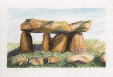 Dolmen 1, 4x6. Watercolor on watercolor postcard. Not for sale.