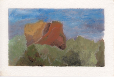 Forest Mountain, 4x6. Gouache on watercolor block.