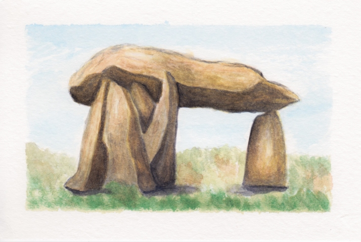 Dolmen 2, 4x6. Watercolor on watercolor postcard. $15