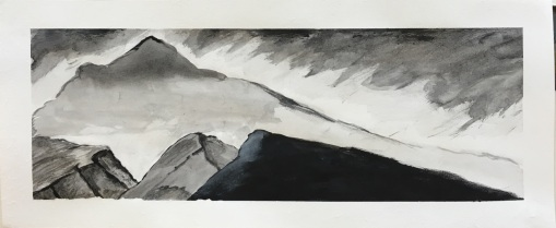 Mountainscape after Nicholas Roerich, 4x10, ink on paper. Not for sale.