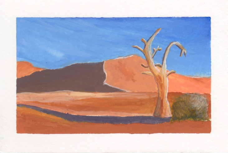 Namib Desert, 4x6. Gouache on watercolor block. Not for sale.