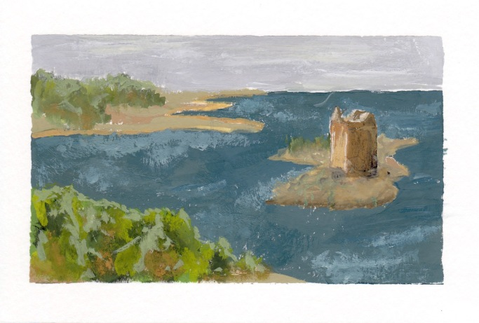 Island Tower, 4x6. Gouache on watercolor block. Not for sale.