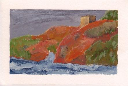 Tempest, 4x6. Gouache on watercolor block. $20