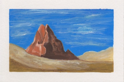 Lonely Mountain, 4x6. Gouache on watercolor block. $20