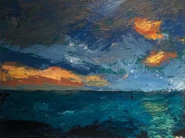 Seascape, 9x12, Acrylic on canvas. $125.